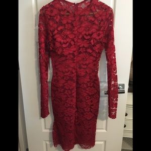 Lovers + Friends Dresses - Red Lace Fitted Midi Dress by Lovers + Friends